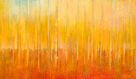 Abstract colorful oil painting on canvas texture. Semi abstract paint of landscape, tree, and flower. Modern art oil paintings nature with yellow, red color. Abstract contemporary art for background