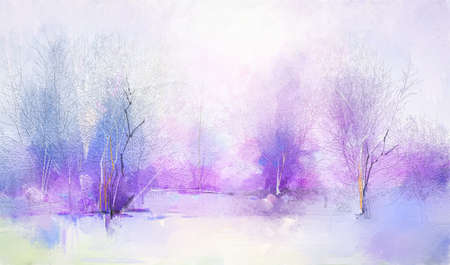 Abstract oil painting winter forest landscape. Semi abstract image of tree, field, meadow. Modern art, oil paint mix watercolor with purple, red and blue pastel color. Contemporary art for background