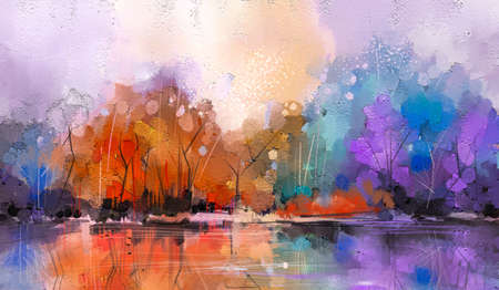 Oil painting colorful autumn season. Semi abstract image of forest, trees with yellow - red leaf and lake with oil paint. Fall season nature background. Hand Painted Impressionist, outdoor landscape 免版税图像