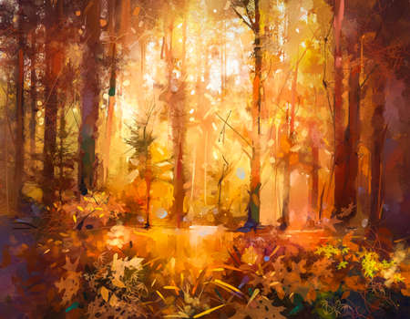 Illustration colorful autumn forest. Abstract image of fall season, yellow and red leaf on tree, field, meadow, outdoor landscape. Nature painting with oil paint. Modern art for wallpaper background 免版税图像