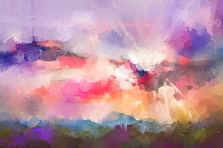 Abstract oil painting landscape. Semi abstract, colorful blue purple cloud and sun on sky. Illustration nature in summer or spring season with oil paint on canvas. Impressionism art for background