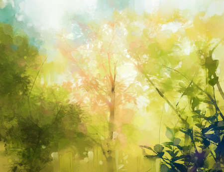 Illustration soft colorful forest and sky. Abstract spring season, outdoor landscape with yellow and green leaf on tree. Nature painting pastel design with watercolor paint. Modern art for background 免版税图像