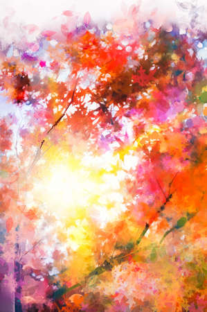 Illustration soft colorful autumn forest. Abstract fall season, yellow, red maple leaf on tree, outdoor landscape. Nature painting pastel design with watercolor paint. Modern art for background