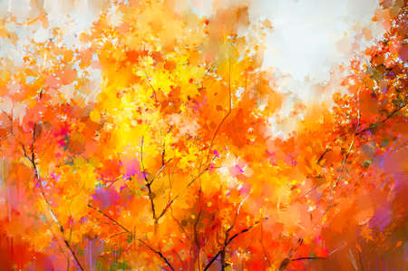 Oil painting colorful autumn season. Semi abstract image of forest, trees with yellow and red leaf with oil paint. Fall season nature background. Hand Painted Impressionist, outdoor landscape