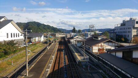 Landscape of railway station of Hida-Furukawa city in Japan.Thia station has been one of the background scene of Kimi No Na Wa (Your Name Anime). Stock Photo