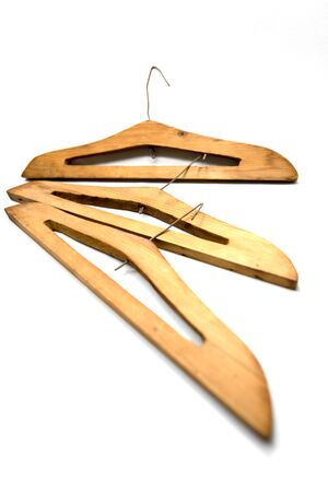 hangers: Old wooden hangers and wire. Stock Photo