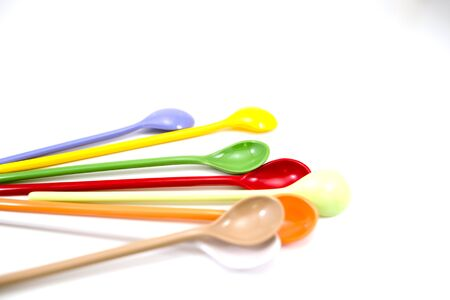 spoon yellow: Multi-colored spoon Brown, purple, yellow, green, red,white