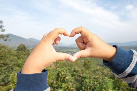 Man-made heart-shaped hand Banco de Imagens
