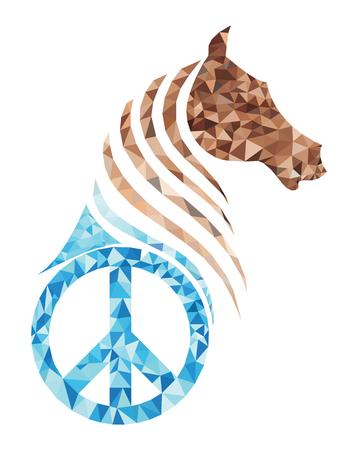 Polygon horse with peace symbol in a conceptual illustration design