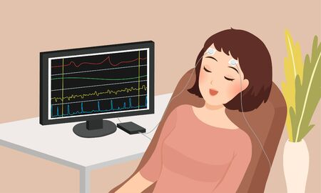 cartoon vector illustration of woman sleeping doing biofeedback therapy 일러스트