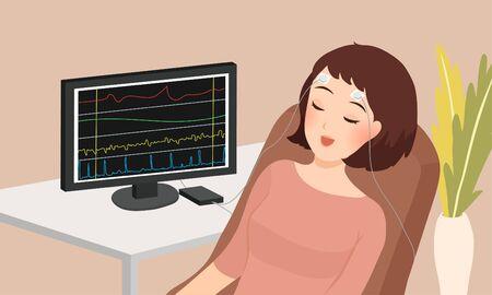 Cartoon-Vektor-Illustration einer schlafenden Frau, die Biofeedback-Therapie macht