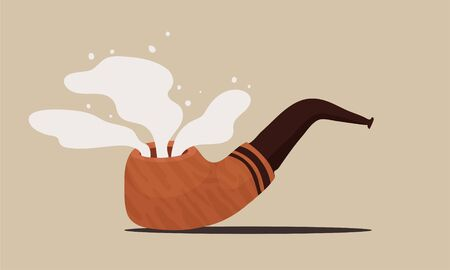cartoon vector illustration of brown smoking pipe