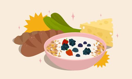 cartoon vector illustration of yogurt and probiotic food