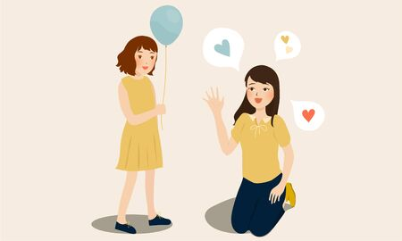 cartoon vector illustration of mother talking to child with balloon Banque d'images - 132225636