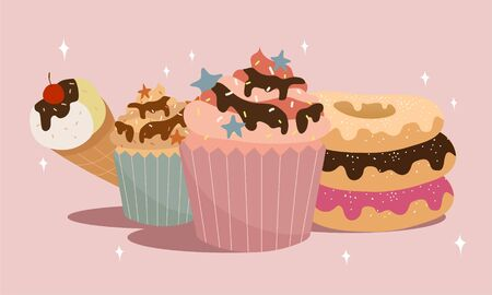 cartoon vector illustration of cupcake, icecream and donuts