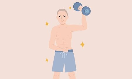 cartoon vector illustration of strong muscular man with dumbbell Illustration