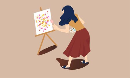 cartoon vector illustration of woman painting abstract picture on canvas