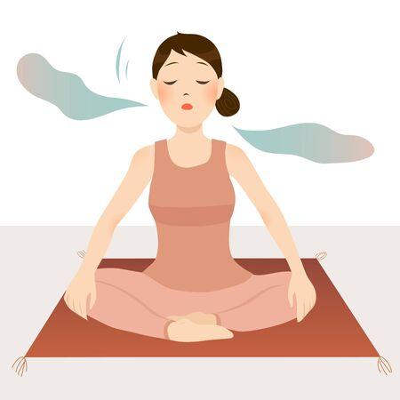 girl sitting cross-legged on the floor doing breathing meditation and yoga.