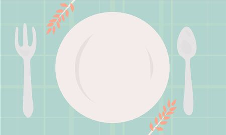 cartoon vector illustration of empty white plate with fork and spoon