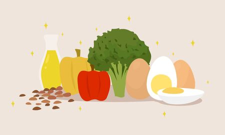 cartoon vector illustration of eggs, olive oil,broccoli, bell pepper and almonds Çizim