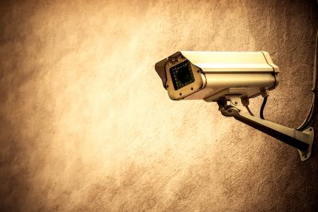 CCTV auf einer braunen Wand Standard-Bild - 19899552