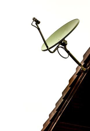 Satellite dish on the white background photo