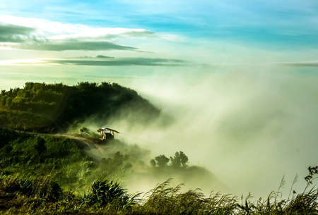 Clouds and fogs on the mountain looked beautiful in morning It is the phutabberk mountain in the northern of thailand