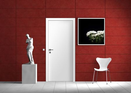 Modern indoor scene with red wall and white interior elements