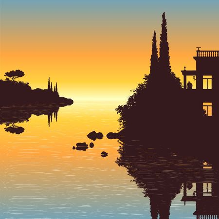 cypress tree: Illustration of an old villa with a view to the sea in the sunset