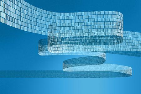 青い背景を持つデジタル データの流れの図 写真素材