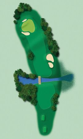 Detailed illustration showing all relevant elements of a golf lane in aerial view illustration