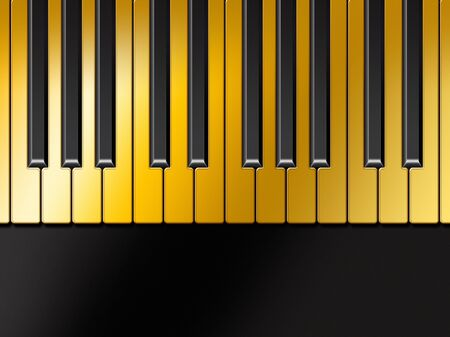 overture: Illstrated detail of a golden piano keyboard