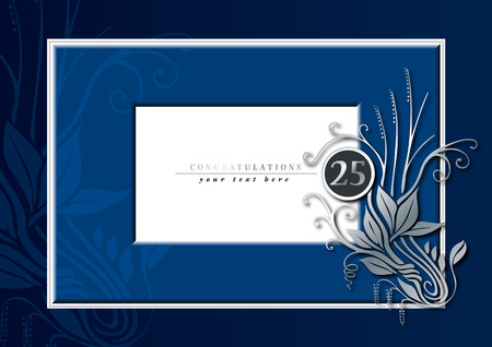 25th: Editable illustration of a blue and silver congratulations card for 25th anniversary, jubilee, wedding or birthady