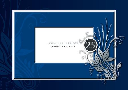 bodas de plata: Ilustraci�n editable de una tarjeta de felicitaciones azul y plateado para 25 aniversario, Jubileo, boda o birthady