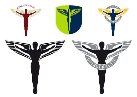 caduceo: Logotipo de caduceo ilustrada para atención de salud de quiropráctica Vectores
