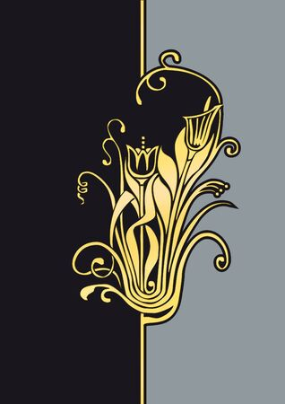 pompous: Illustration of a golden fantasy flower to be used as background image for example for greeting cards