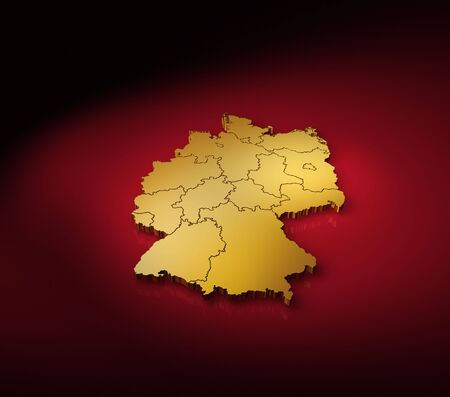 boarders: Three-dimensional computer rendering of a very detailed golden german map with black and red background