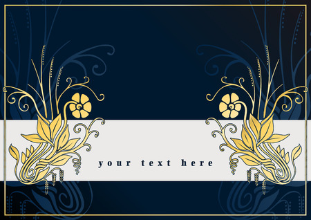 decode: Blue greetings card with golden flowers