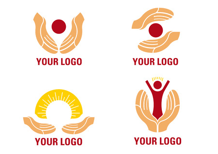 mani terra: Aiutando le mani logo  Vettoriali
