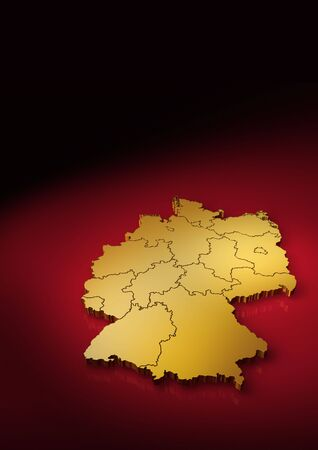 boarders: Detailed german map vertical Stock Photo
