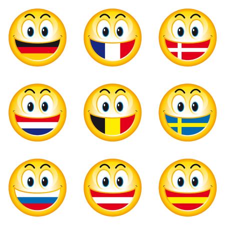 Smileys Flags 1  Vector Illustratie