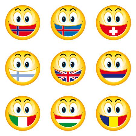 Smileys Flags 2 Vector