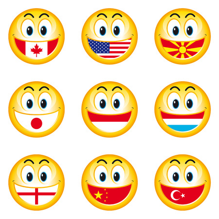 Smileys Flags 4 Vector