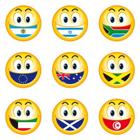 Smileys Flags 5 Vector