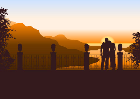hill distant: Couple watching beautiful sunset on a terrace