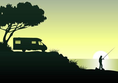 caravan and angler Stock Illustratie