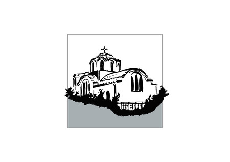 orthodox: typical greek chapel Illustration
