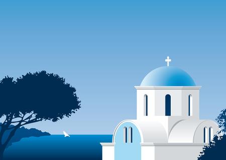 greece: illustration of a greek church