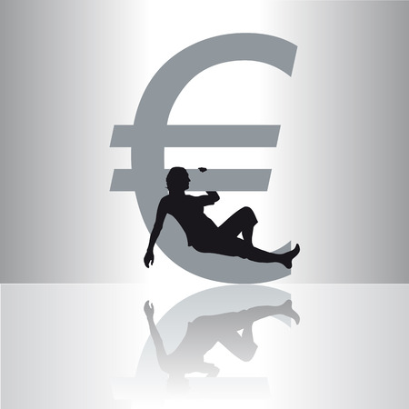 Illustration of the Euro symbol with the silhouette of a relaxed woman Ilustração