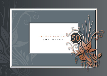 50th anniversary grey and copper Vector